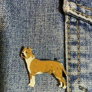 Other - Unisex  Tan/White Pit Bull Dog Badge